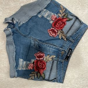 Denim Shorts With Cut Out Pockets